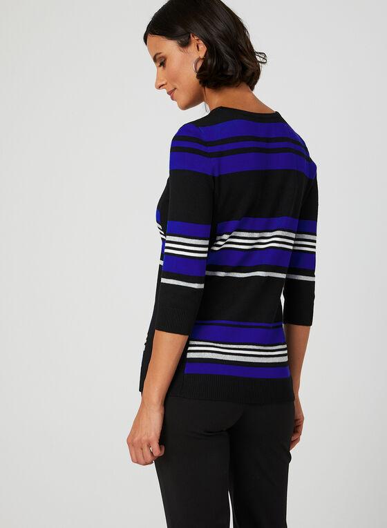 Stripe Print Knit Top, Blue, hi-res