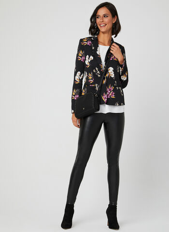 Floral Print Cropped Blazer, Multi, hi-res