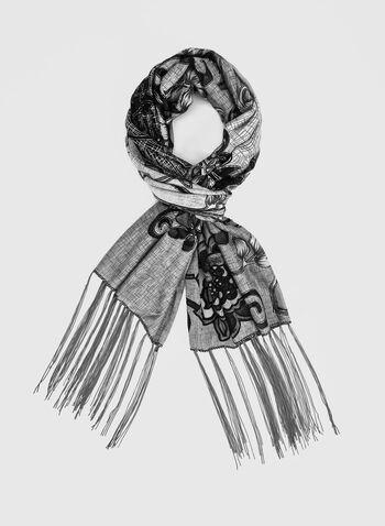 Foulard fleuri à frange longue, Gris,  brillant, brillants, fleurs, motif, motifs, floral, imprimé, imprimés