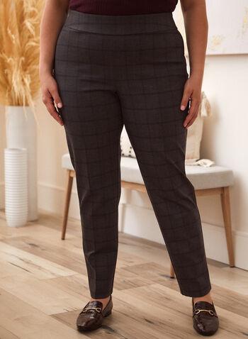 Pantalon motif carreaux à enfiler, Gris,  pantalon, bas, ajusté, coupe droite, carreaux, motif, imprimé, élastique, pull-on, à enfiler, pinces, extensible, automne 2021