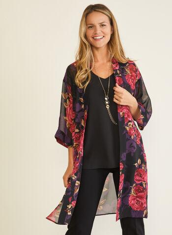 Floral Print Open Front Tunic, Black,  tunic, open front, floral, kimono, chiffon, fall winter 2020