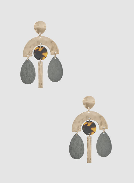 Tribal Earrings, Gold, hi-res