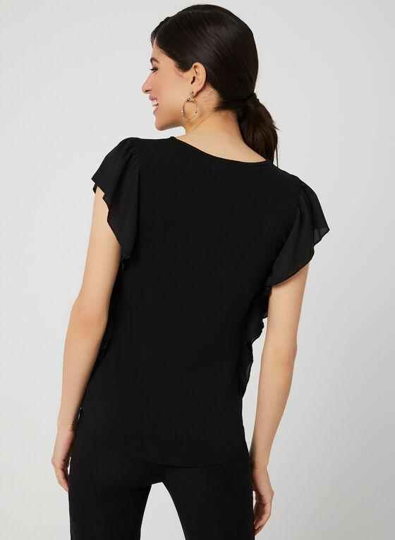 T-shirt à broderies et détails volantés, Noir, hi-res