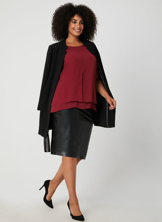 Sleeveless Crepe Blouse, Red