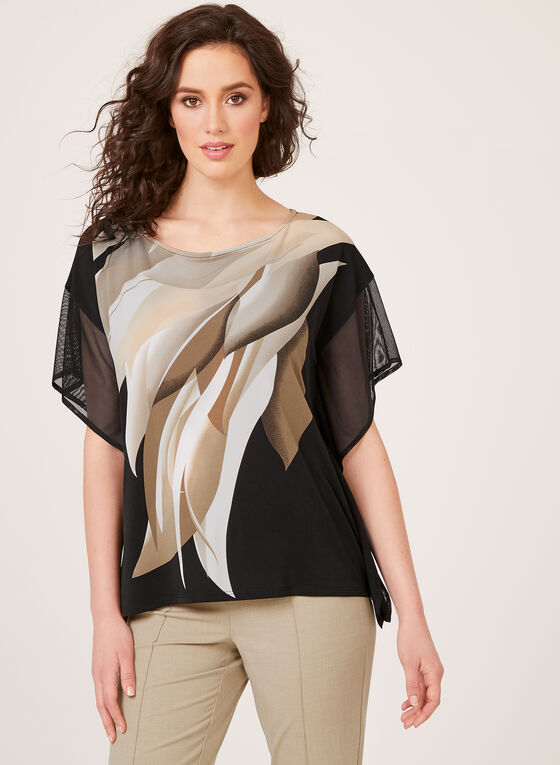 Abstract Leaf Print Poncho Blouse, Black, hi-res