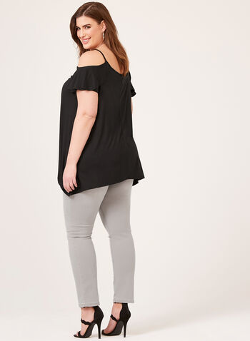 Enough About Me - Cold Shoulder V-Neck Blouse, Black, hi-res