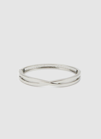 Twisted Hinge Bangle, Silver, hi-res