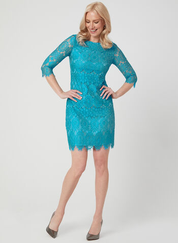 Jessica Howard - Lace Dress, Blue, hi-res,  Crochet lace, soft lace, medallion lace, day dress, cocktail dress, turquoise dress, spring 2019