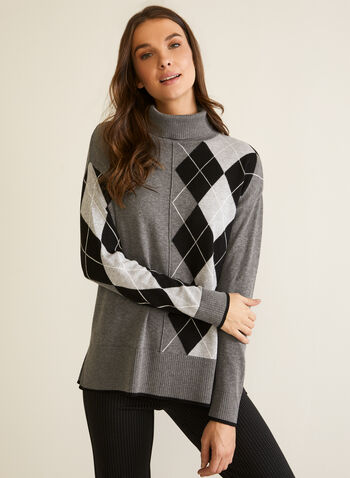 Argyle Turtleneck Sweater, Grey,  fall winter 2020, turtleneck, loose, sweater, long sleeve, argyle, pattern, contrast, ribbing, ribbed, comfort, stretch, warm, tunic