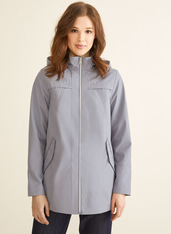 Novelti - Hooded A-Line Coat, Purple,  spring summer 2020, removable hood, drawstring, raincoat, A-line