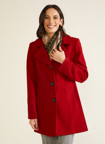 Structured Wool Blend Coat, Red,  fall winter 2020, wool, blend, coat, notched collar, holiday