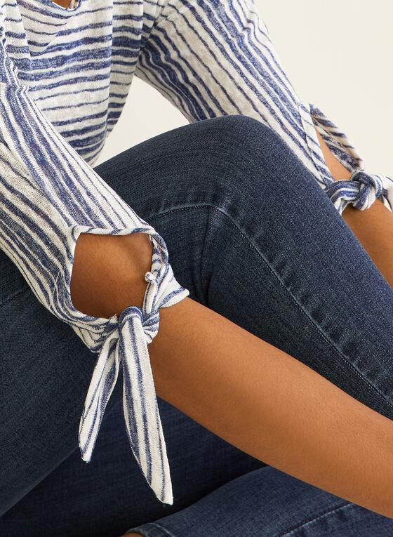 Stripe Print Knot Detail Tee, Blue