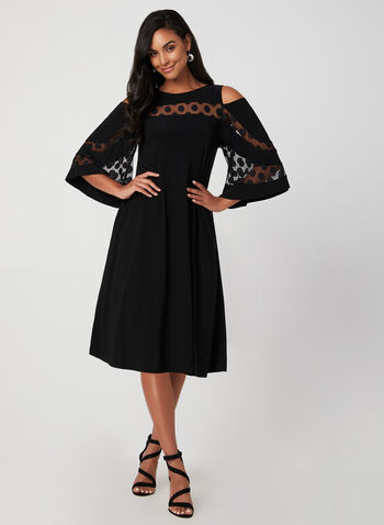 Bell  Sleeve A-Line Dress, Black, hi-res,  fall winter 2019, mesh, jersey, cold-shoulder, scoop neck, A-line, day dress, bell sleeves