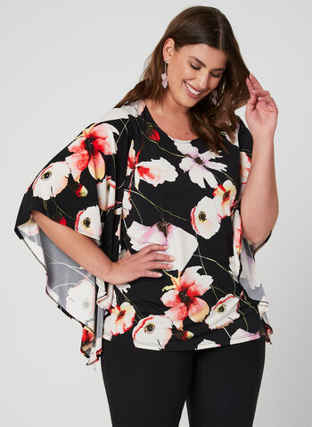 Floral Print Angel Sleeve Top, Black, hi-res