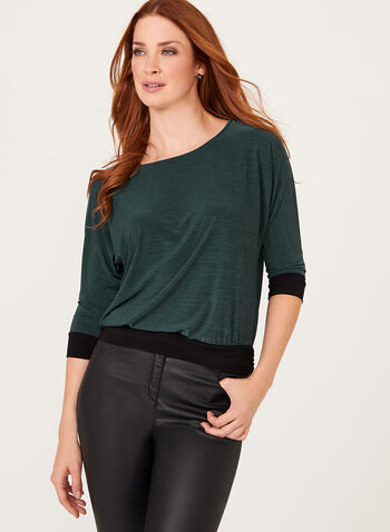 3/4 Dolman Sleeve Contrast Blouse , Green, hi-res