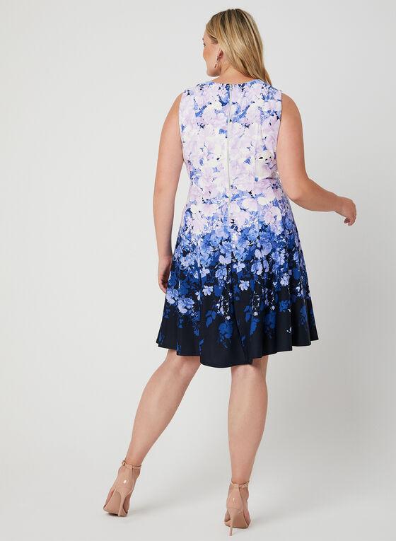 Floral Print Fit & Flare Dress, Purple, hi-res