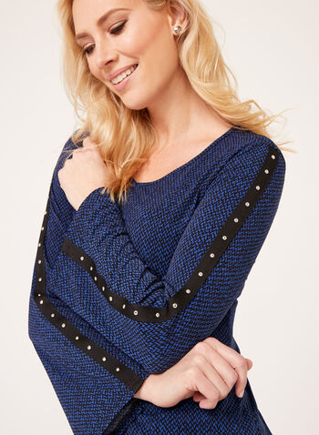 Studded Graphic Print Blouse, Blue, hi-res
