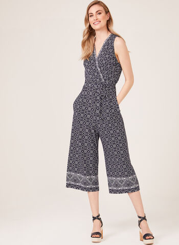 Faux Wrap Wide Leg Jumpsuit, Blue, hi-res