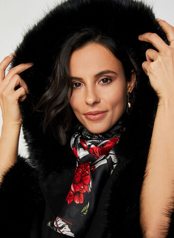 Faux Fur Trim Cape, Black, hi-res,  cape, faux fur, hood, button down, fall 2019, winter 2019