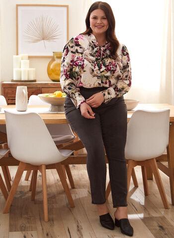 Blouse fleurie à col noué, Blanc,  haut, blouse, col noué, chemisier, manches longues, boutons, ourlet arrondi, motif floral, automne 2021