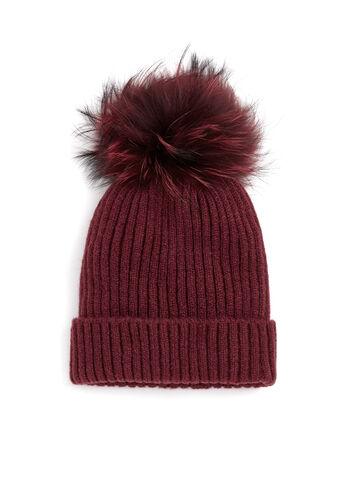 Tuque tricotée avec pompon en fourrure, Rouge, hi-res