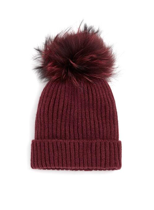 Fur Pompom Knit Hat, Red, hi-res