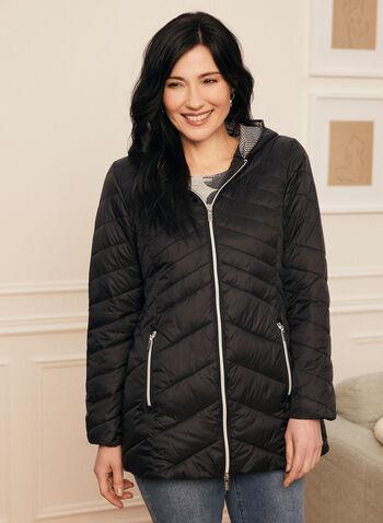 Manteau léger en duvet éthique, Noir,  printemps été 2020, manteau, duvet, synthétique, polyester, matelassé, capuchon, nylon