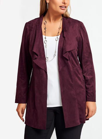 Faux Suede Cascade Front Jacket , Red, hi-res