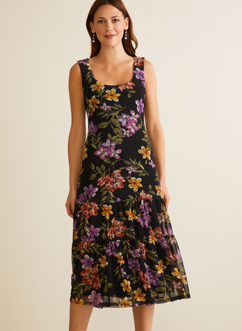 Floral Print Sleeveless Dress, Black,  day dress, floral, tiered, pleated, mesh, sleeveless, spring summer 2020