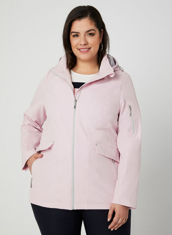 Hooded Raincoat, Pink, hi-res,  removable hood, stretchy, windproof, spring 2019