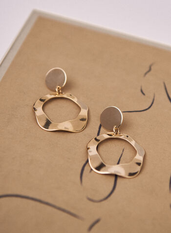 Wavy Open Ring Dangle Earrings, Gold,  spring 2021, jewelry, jewellery, earrings, accessories, dangle, evening, circular post, gold tone, metallic, wavy open ring, pushback closure