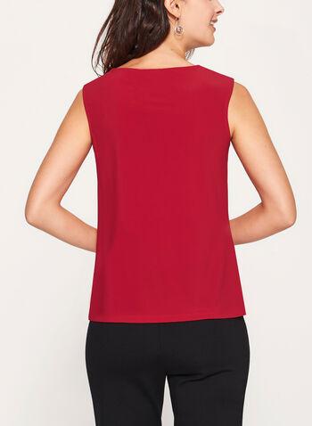 Metallic Detail Sleeveless Top, Red, hi-res