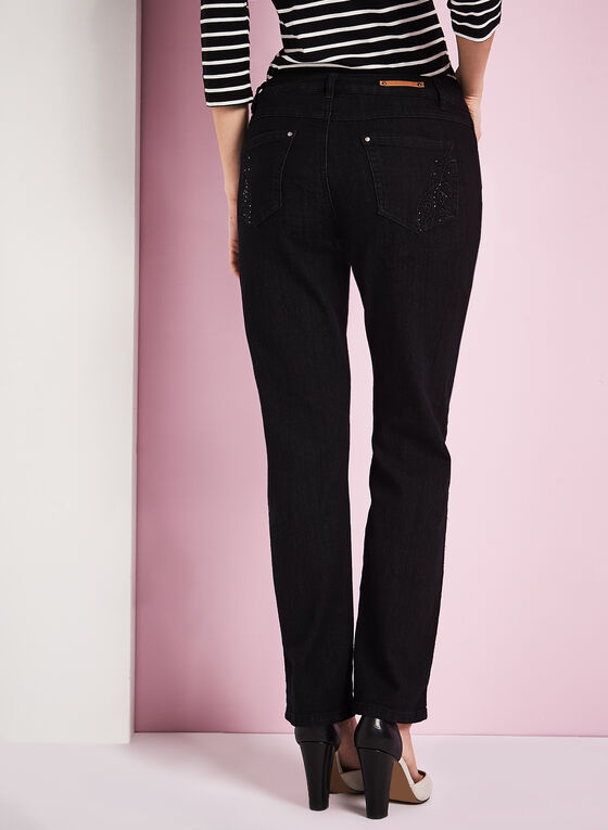 Simon Chang Straight Leg Denim Pants, Black, hi-res