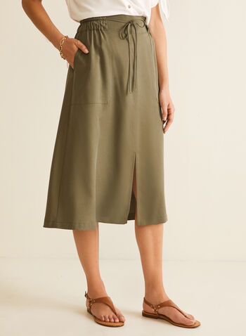 Tencel Midi Skirt, Green,  skirt, midi, tencel, drawstring, elastic, slit, pockets, pull-on, spring summer 2020