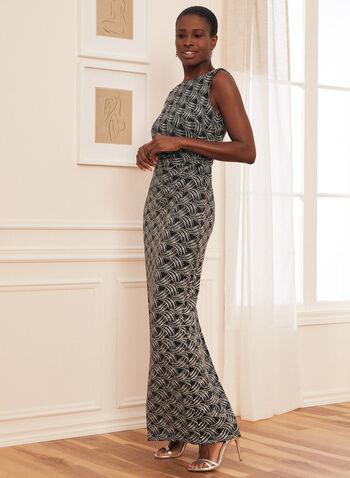 Glitter Knit Column Dress, Black,  evening dress, metallic, glitter knit, boat neck, v-neck, sleeveless, column, high slit, abstract, spring summer 2021