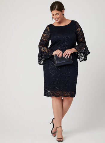 Bell Sleeve Sequin Lace Dress, Blue, hi-res