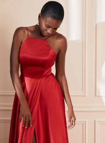Apron Neck Satin Dress, Red,  prom dress, sleeveless, apron neck, satin, pockets, full length, corset, spaghetti strap, train, a-line, pockets, lace-up, spring summer 2021