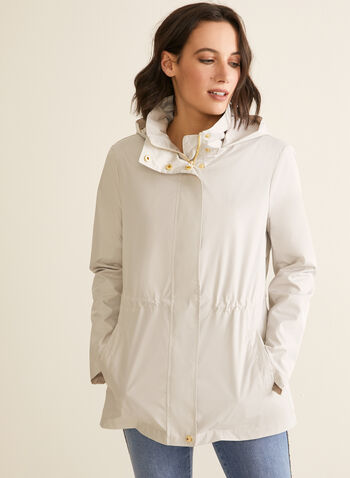 Kensie - Hooded Raincoat, Silver,  coat, raincoat, rainwear, hood, floral, zipper, button, elastic, pockets, high collar, spring summer 2020