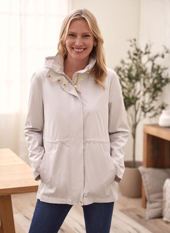 Kensie - Hooded Raincoat, Silver