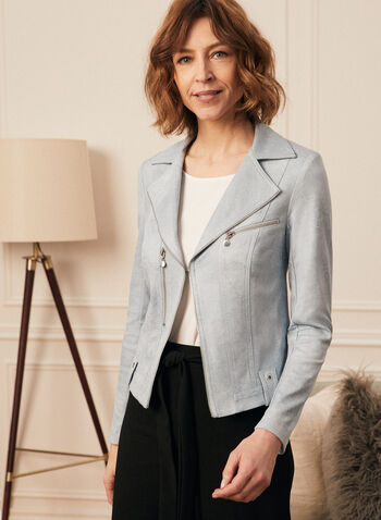 Vex - Zipper Detail Faux Leather Blazer, Blue,  blazer, faux leather, zipper details, shoulder pads, long sleeves, spring summer 2020