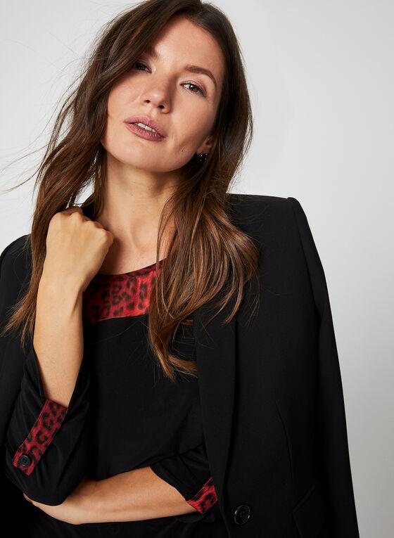 Animal Print Jersey Top, Black