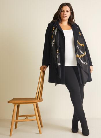 Portrait - Manteau à capuchon amovible, Noir,  manteau, demi-saison, capuchon, manches longues, boutons, printemps été 2020
