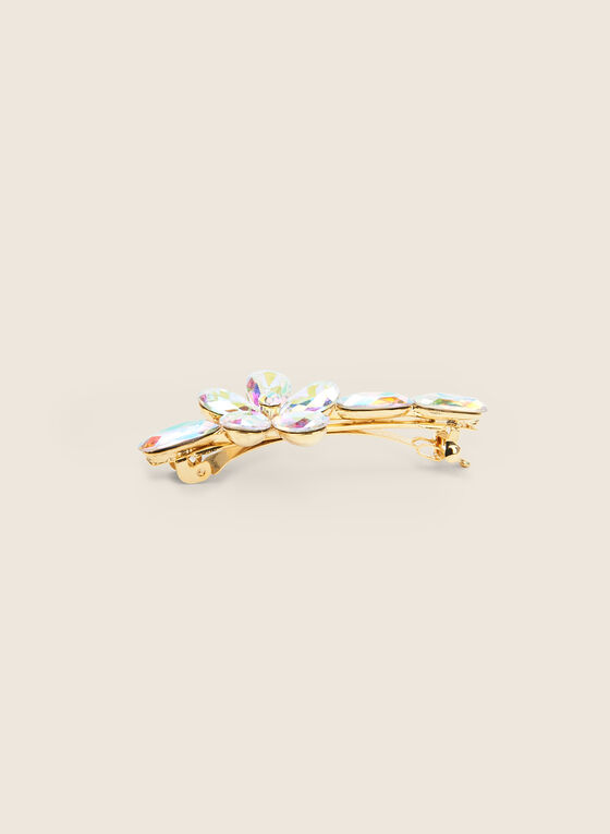 Crystal Flower Hair Clip , Gold