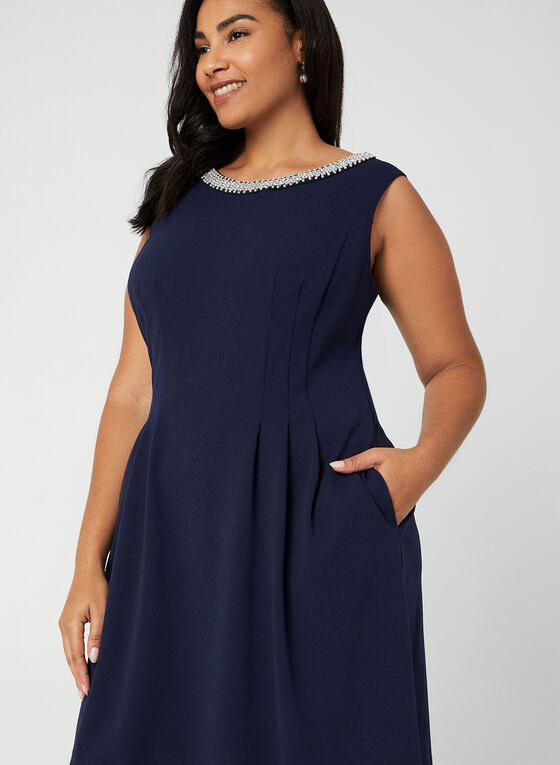 Sleeveless Pearl Neck Dress, Blue