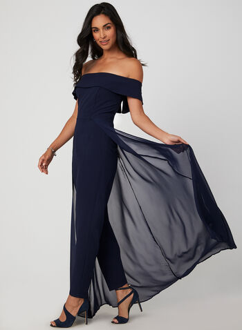 Marina - Off-the-Shoulder Jumpsuit, Blue, hi-res,  slim leg, chiffon, fall 2019, winter 2019, occasion