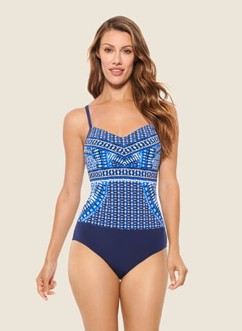 Christina - Mosaic Print One-Piece Bathing Suit, Blue,  swimsuit, swimwear, mosaic print, one piece, fall winter 2020