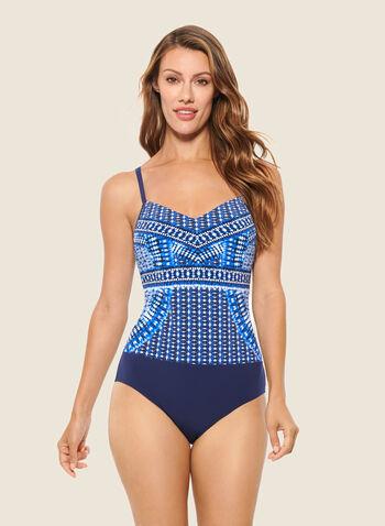 Christina - Maillot une pièce à motif mosaïque, Bleu,   maillot de bain, une pièce, automne hiver 2020, christina, motif, mosaïque, tons de bleu, vacances