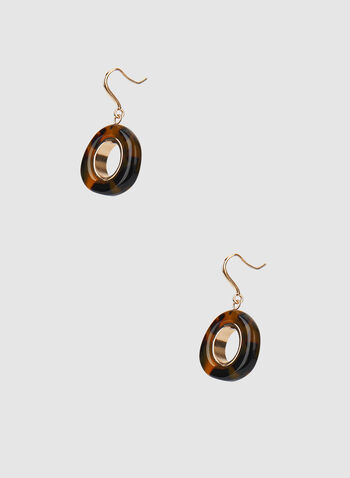 Lucite Dangle Earrings, Brown, hi-res,  earrings, dangle earrings, lucite ring, round earrings, fall 2019, winter 2019