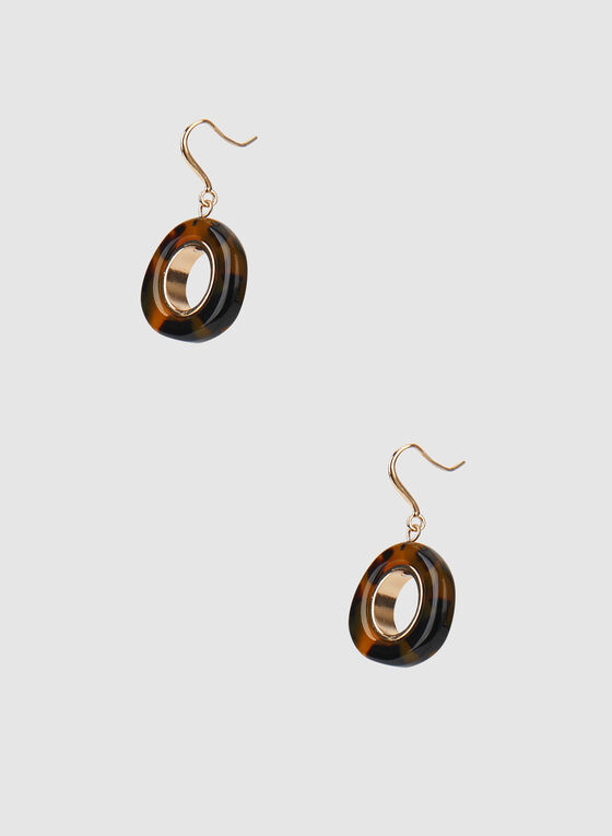 Lucite Dangle Earrings, Brown, hi-res