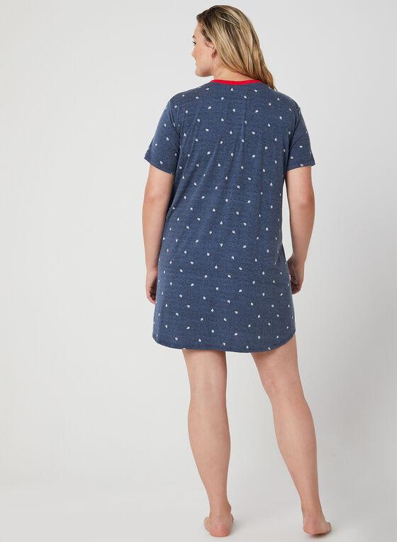 Claudel Lingerie - Chemise de nuit à motif nautique, Bleu, hi-res